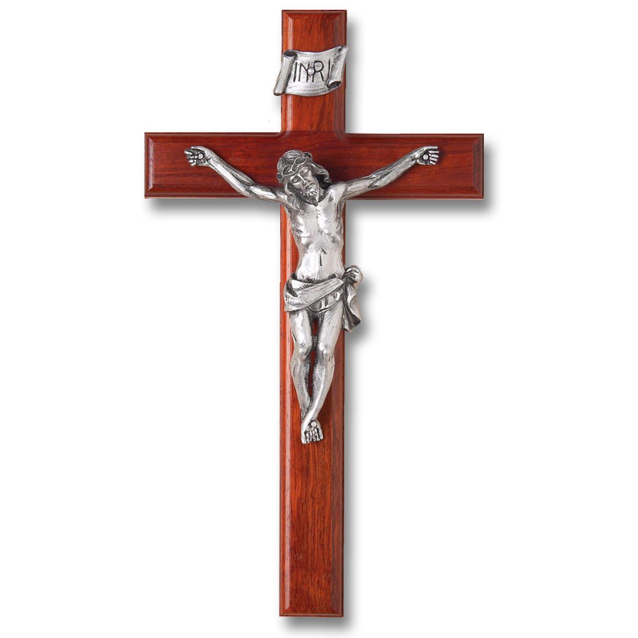 Rosewood Crucifix Silver Corpus 12IN