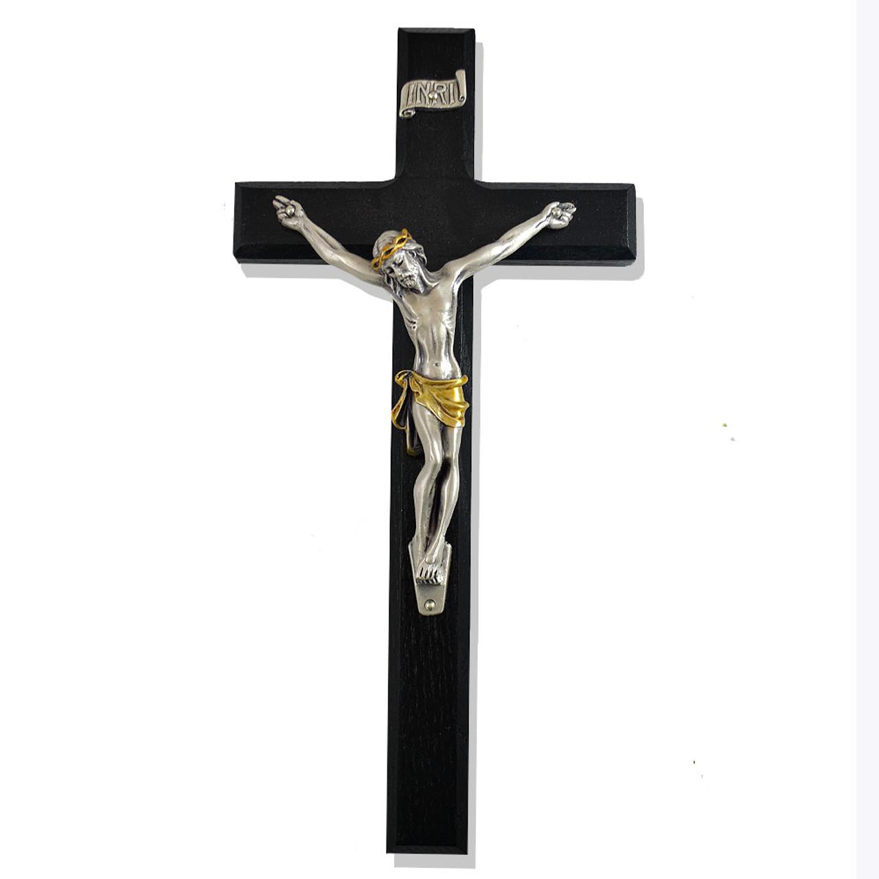 """Black Walnut Wall Crucifix- 10"""""""