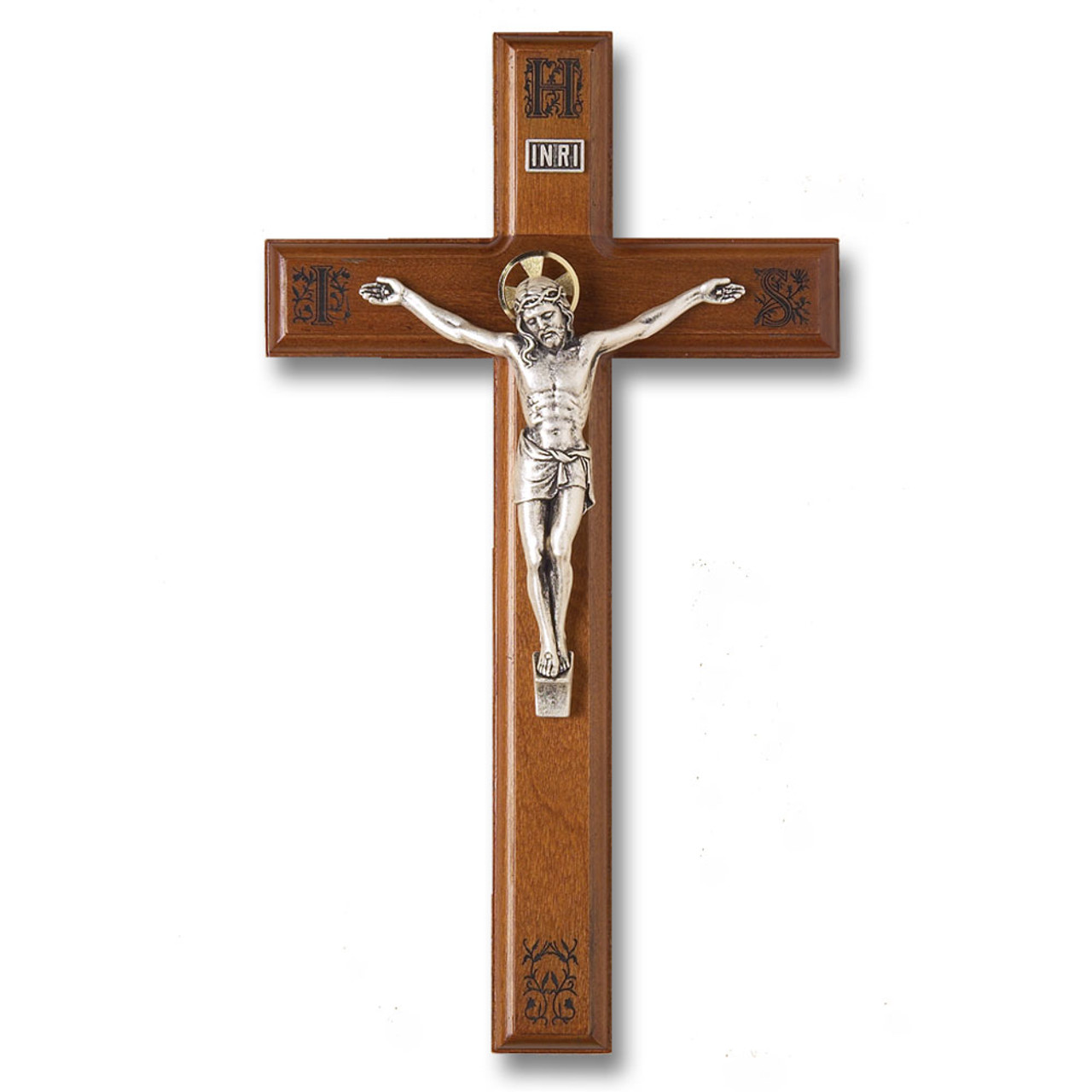 Walnut Crucifix IHS Engraved 11IN