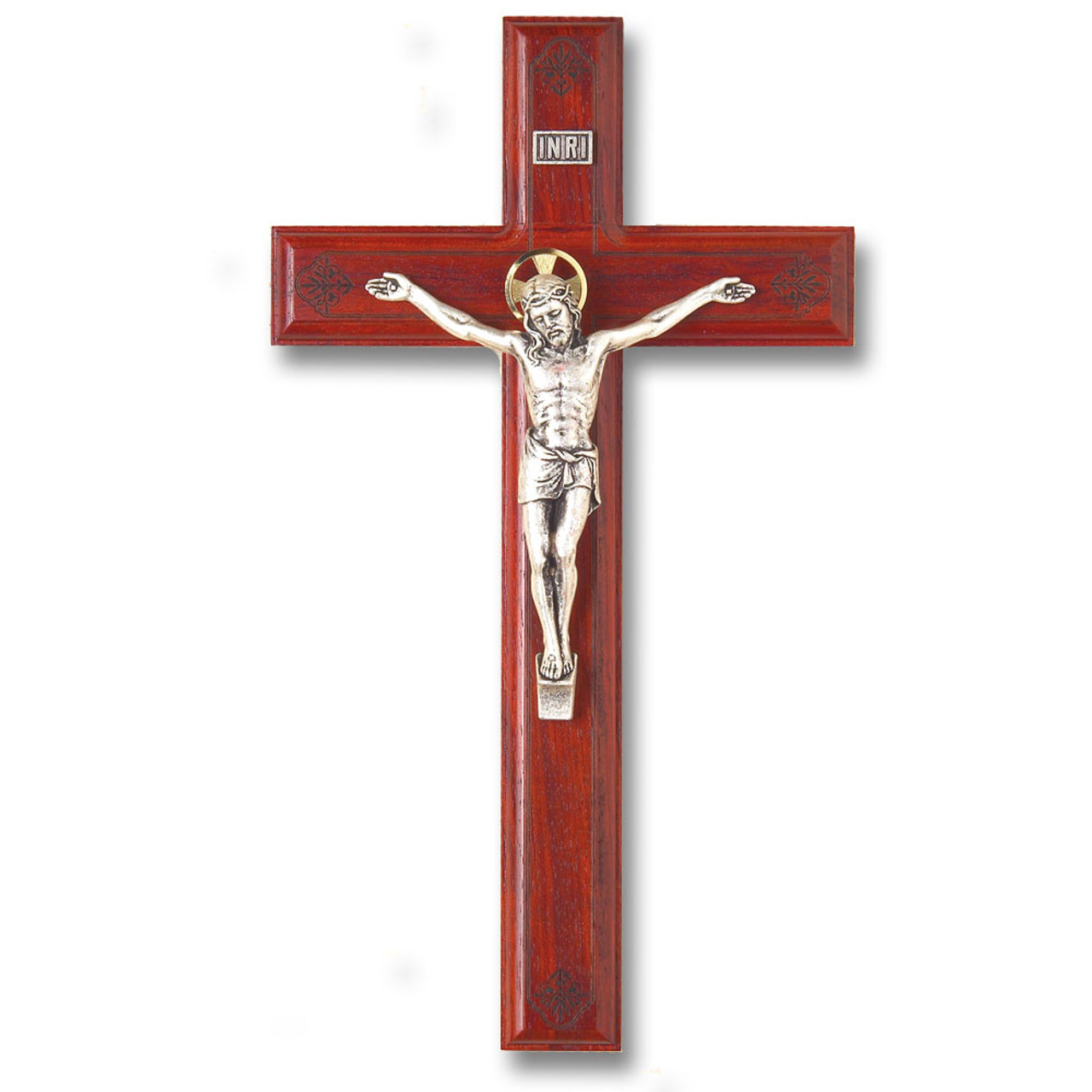 Rosewood Crucifix 11IN Engraved Flowers