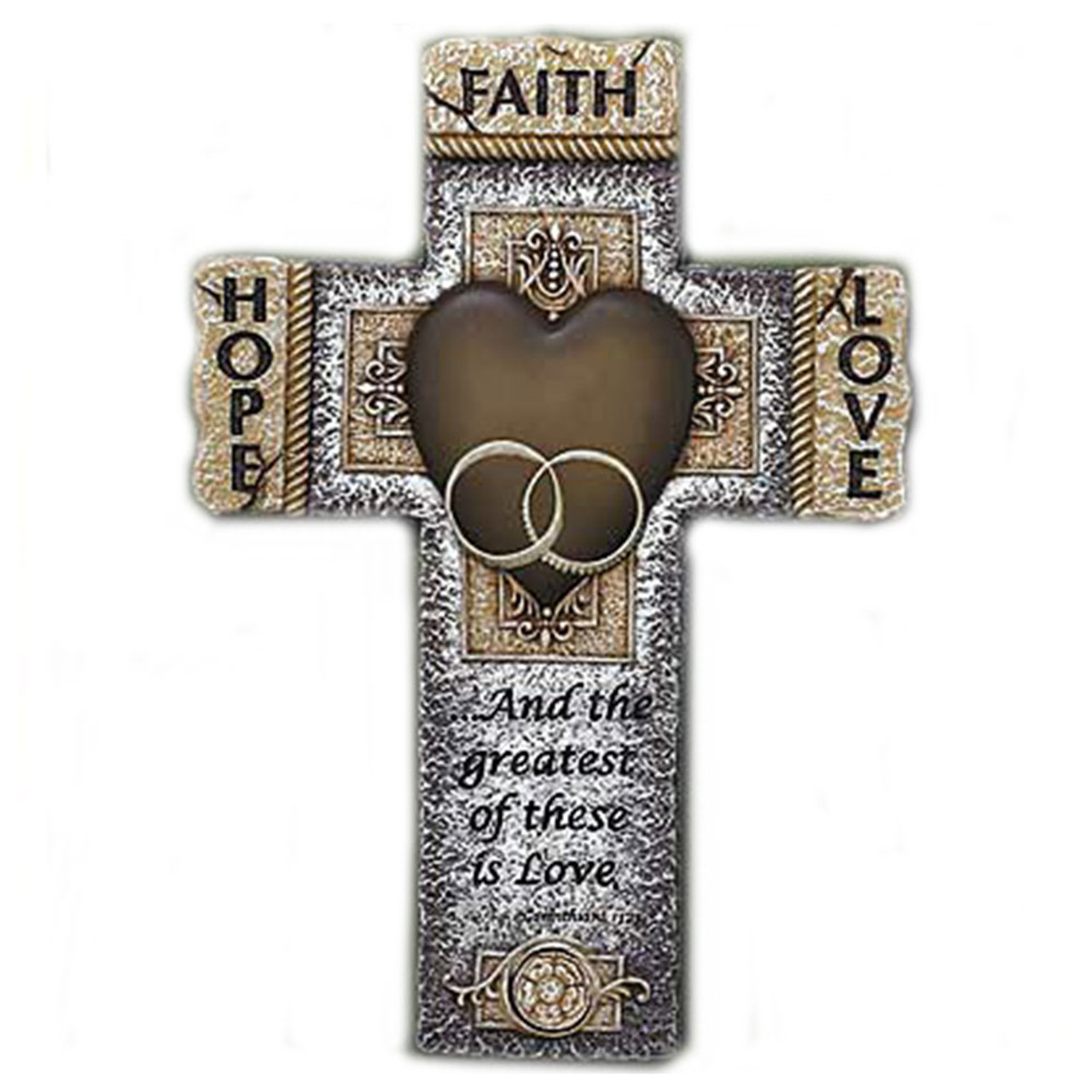 Resin Marriage Cross 10.5 Inches