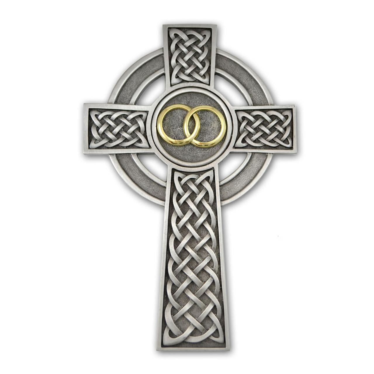 "Irish Celtic Wedding Cross Pewter 8"""