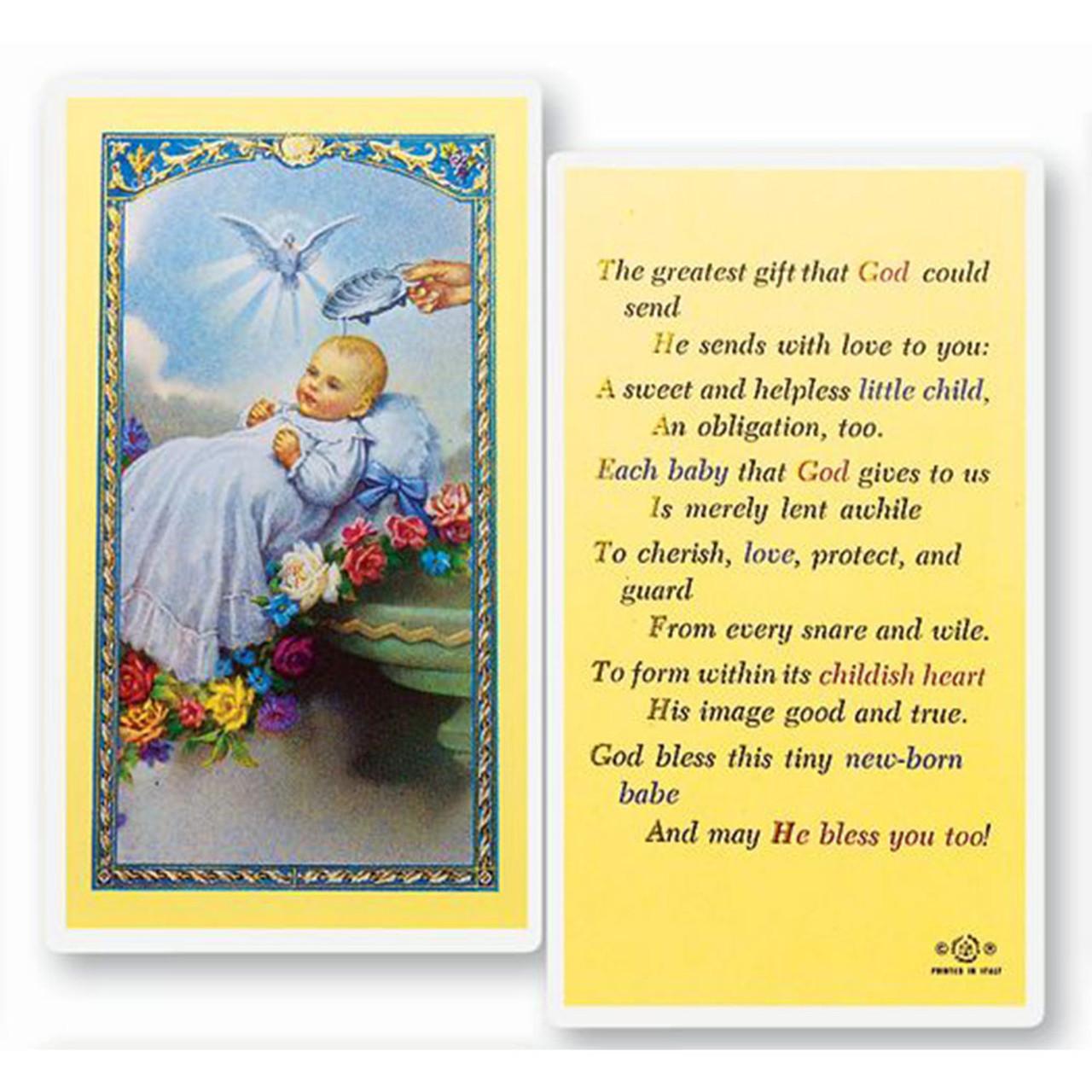 Baptism Holy Card Laminated