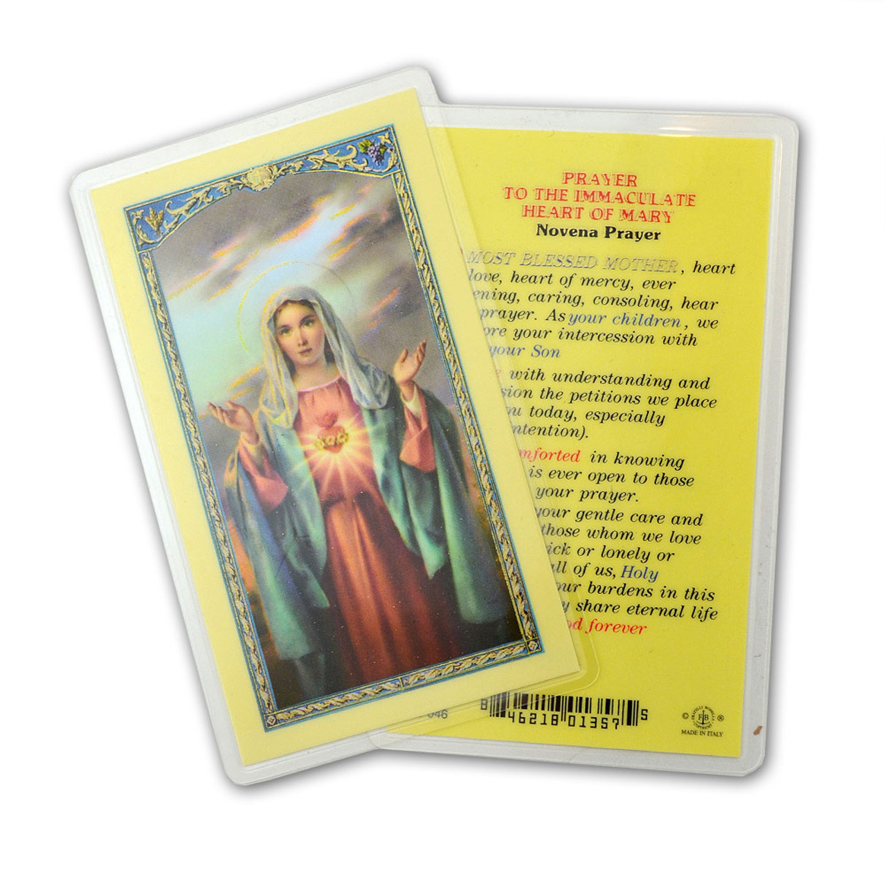Immaculate Heart Of Mary Holy Card Novena Prayer