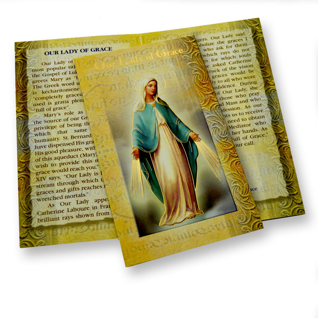 Our Lady of Grace Mini Lives Holy Card