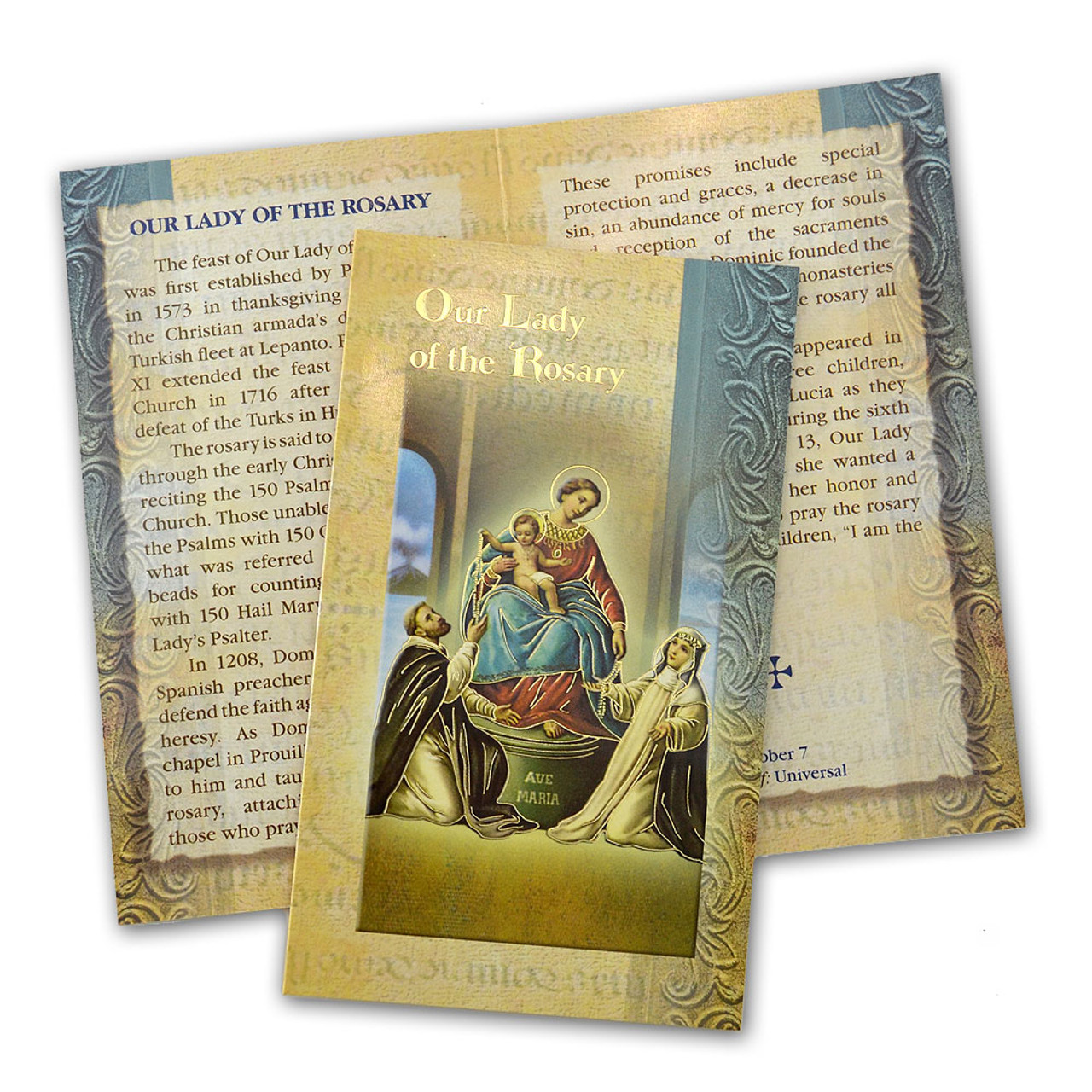 Our Lady of the Rosary Mini Lives Holy Card