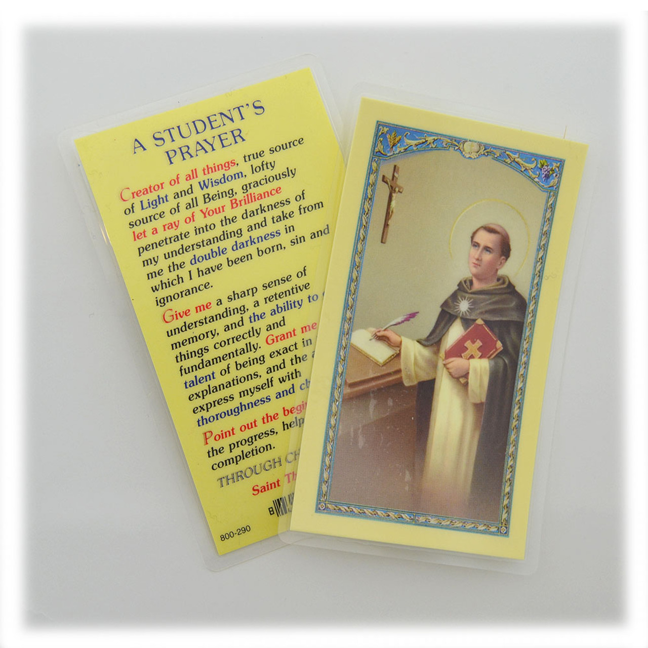 Students Prayer St Thomas Aquinas Holy Card