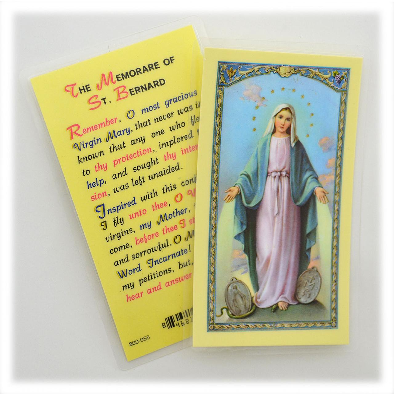 Memorare of St Bernard Laminated Holy Card