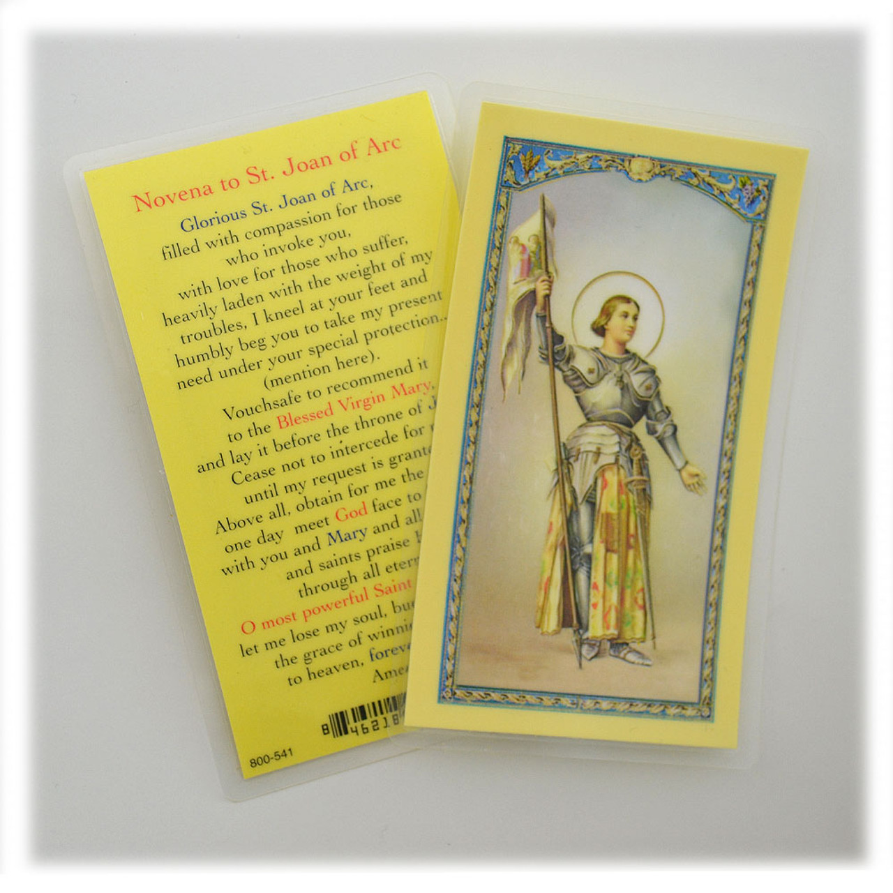 Novena to St. Joan of Arc Holy Card Laminated