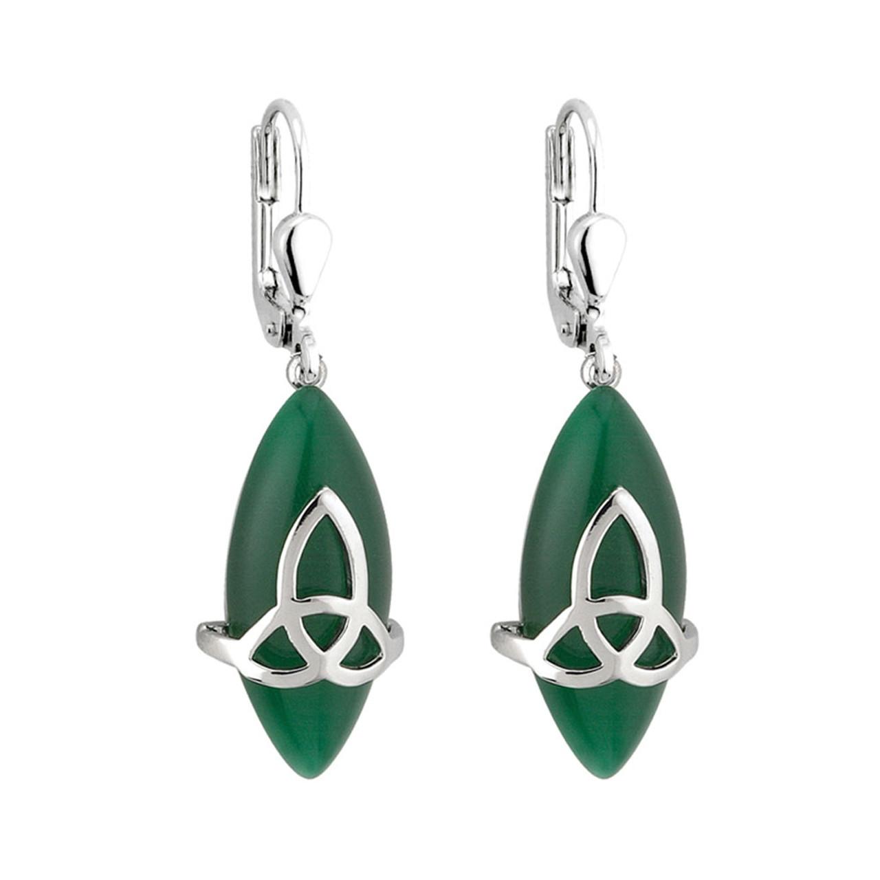 Silver Celtic Knot Green Stone Earrings