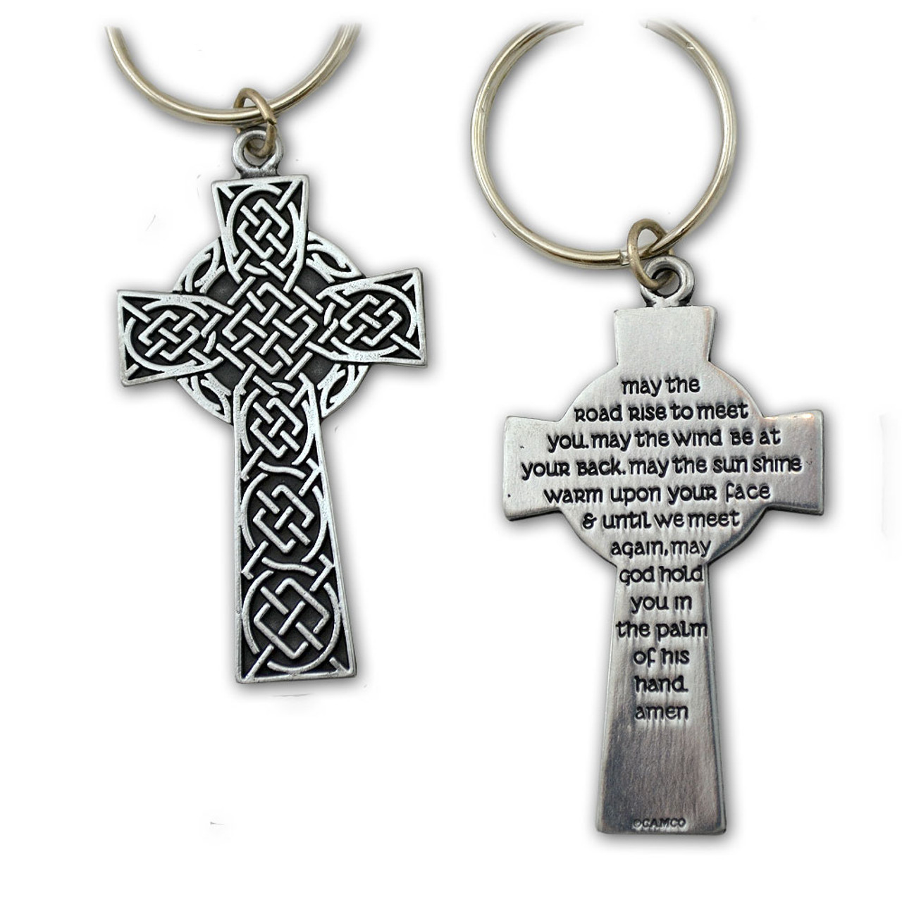 Irish Blessing on Celtic Cross Key Ring