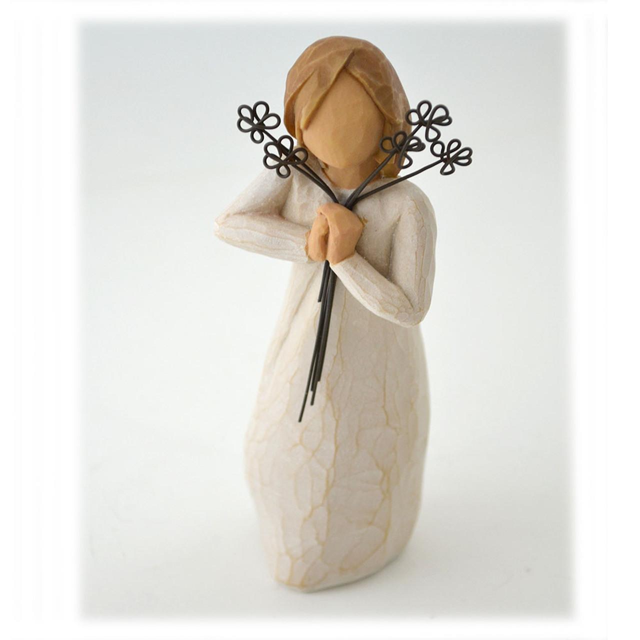 Friendship Willow Tree Figurine W/Metal Flowers