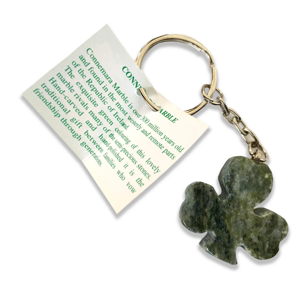 Shamrock Key Ring Connemara Marble