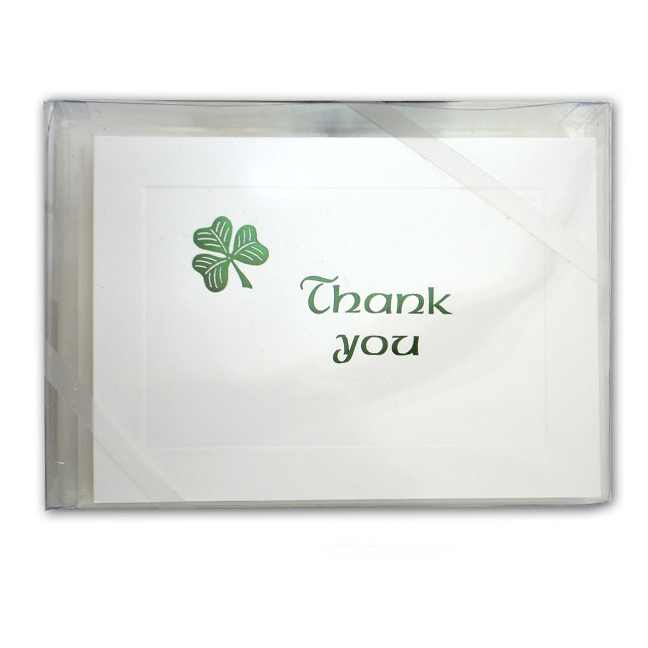 Box/10 Thank You Cards w/Foil Stamped Shamrock