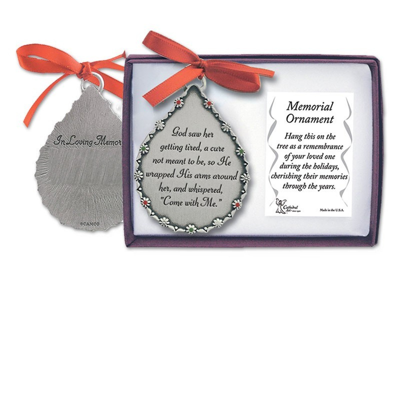 Pewter Tear Memorial Ornament God Saw Her