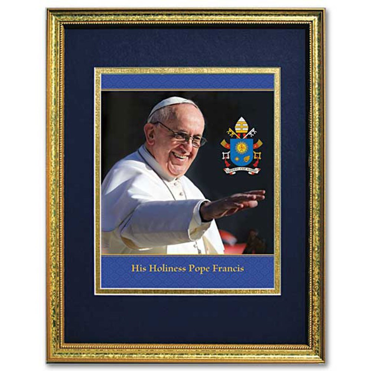 Pope Francis Gold Framed/Double Matted Print