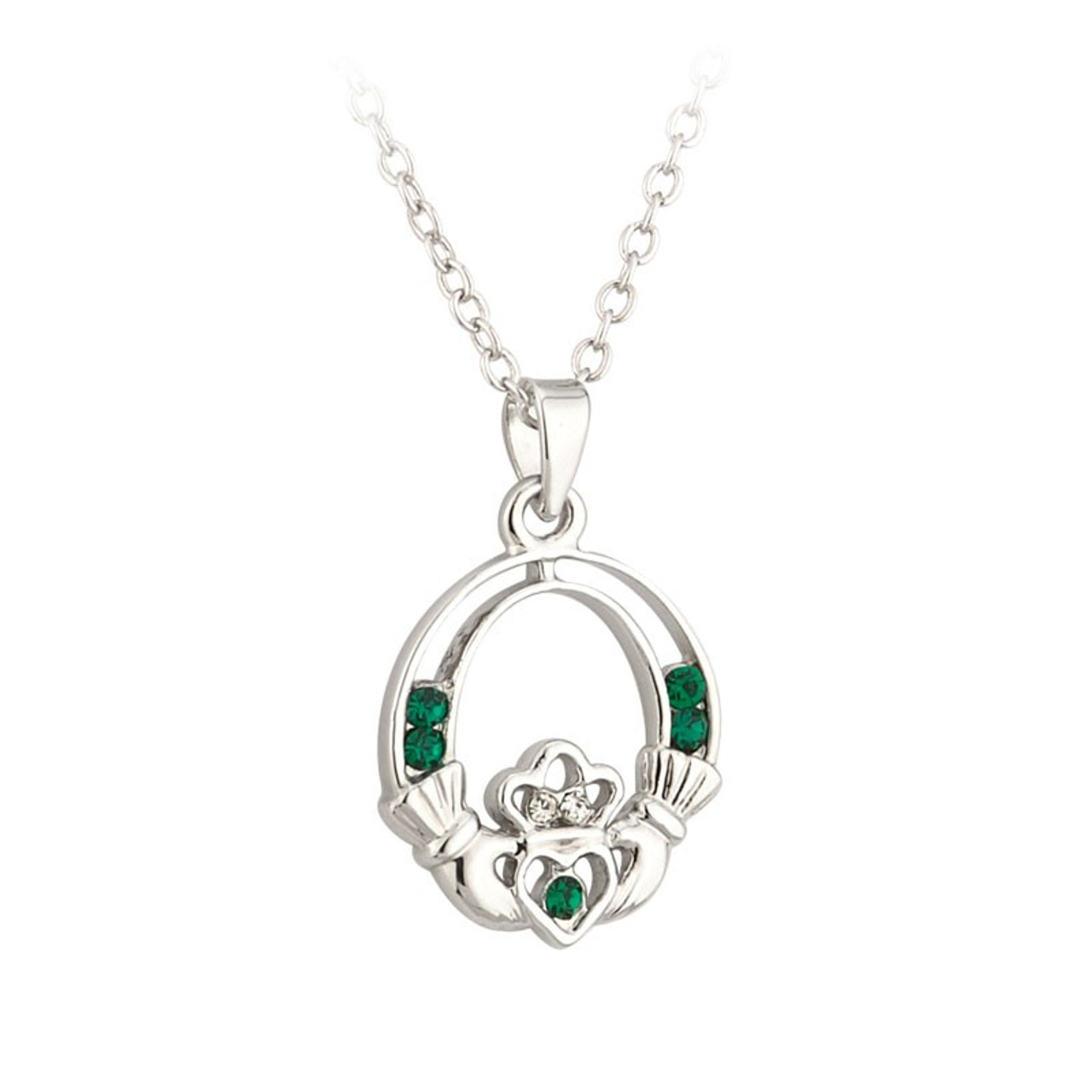 Claddagh Necklace with Crystals on 18 Inch Chain