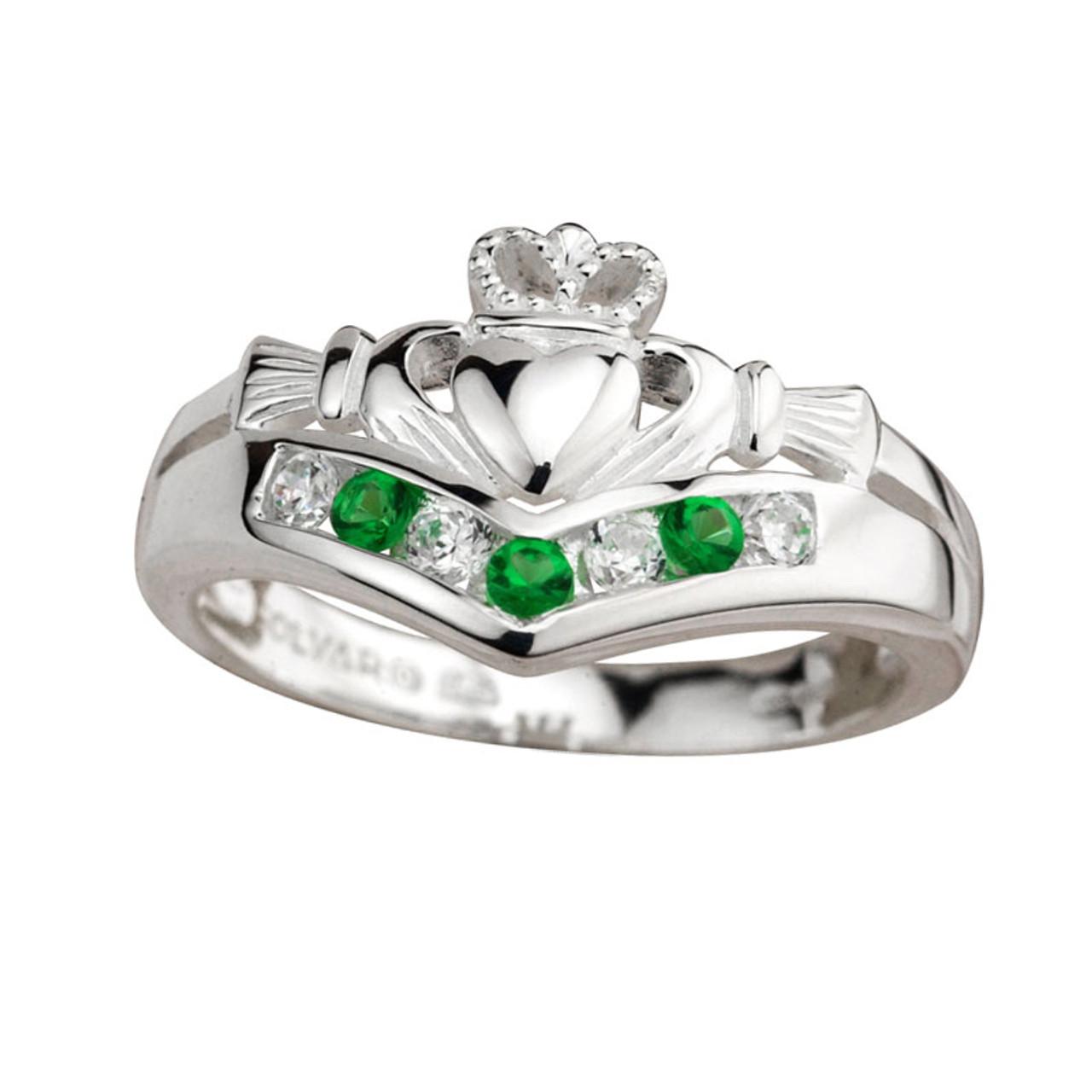 Sterling Silver Crystal Claddagh Wishbone Ring