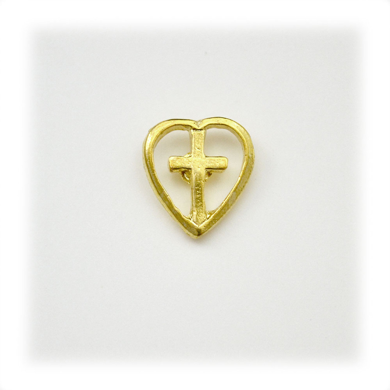 Cross in Heart Gold Pin Tack