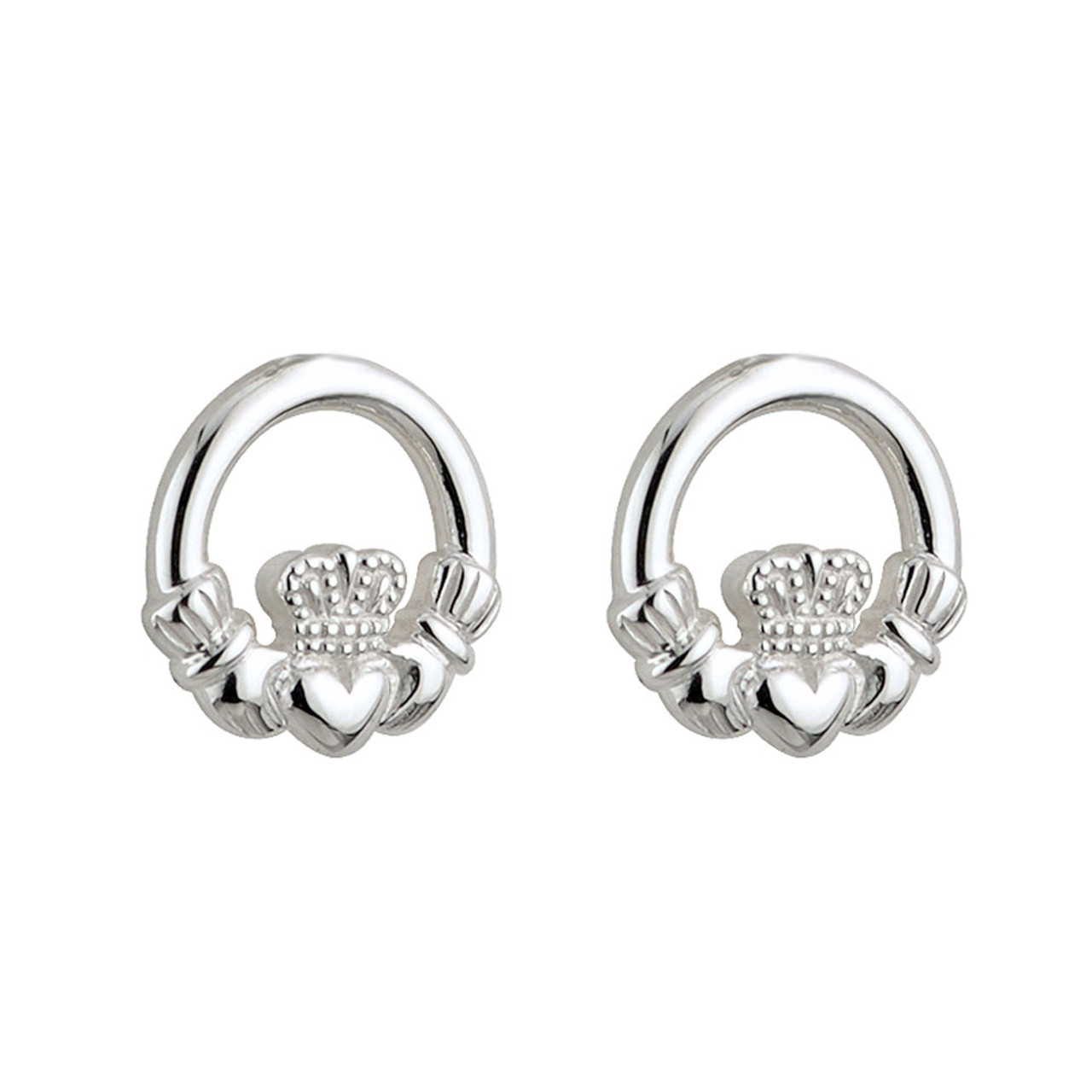 Child Sterling Silver Claddagh Stud Earrings