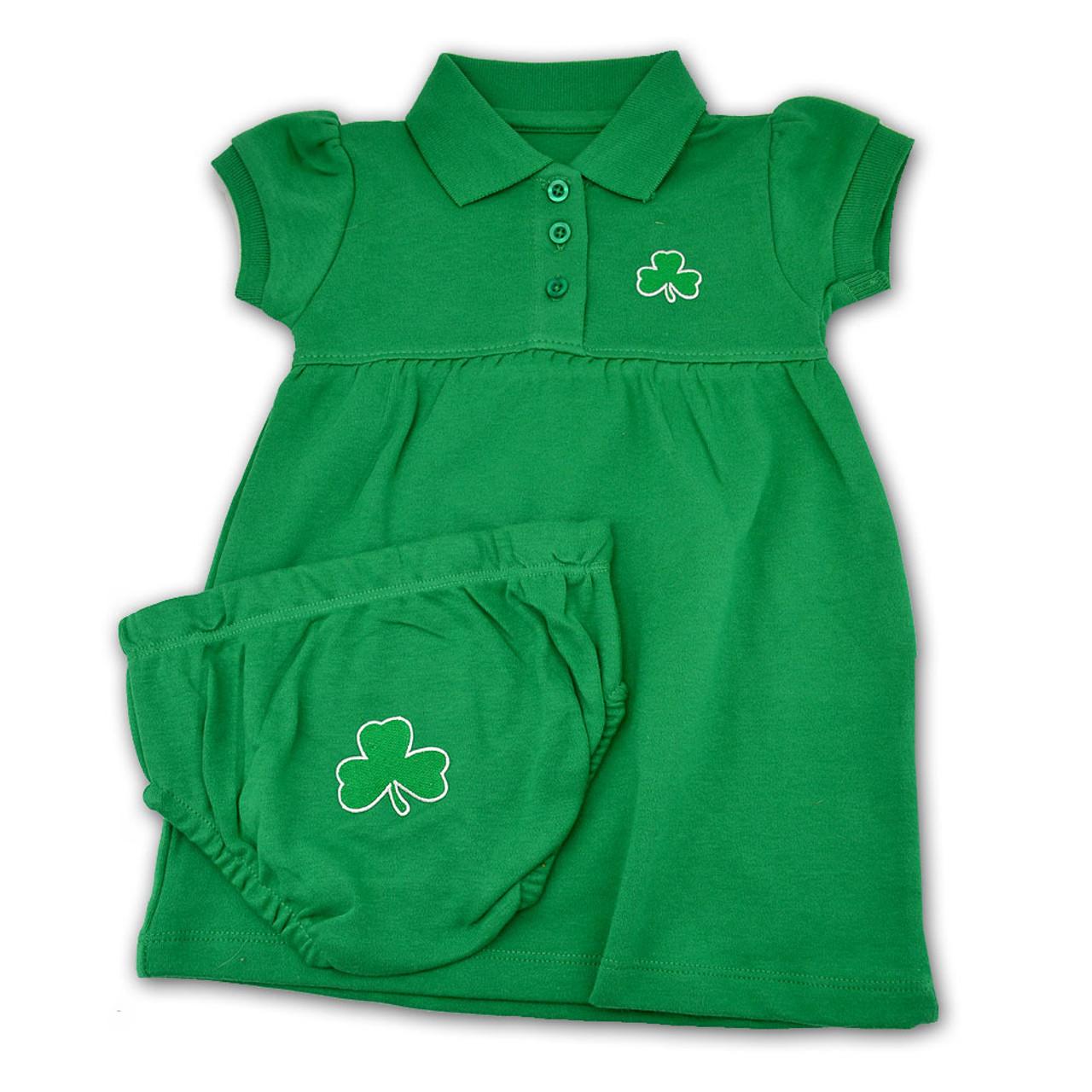 Green Baby Dress with Shamrock Design