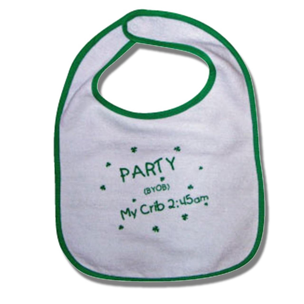 """Irish Baby Bib """"Party at My Crib"""""""
