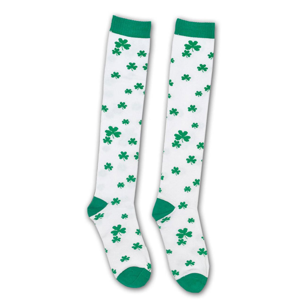 Knee High Socks with Green Irish Shamrocks