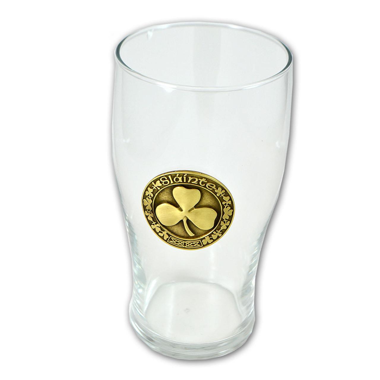 Personalised 1 Pint Tulip Beer Glass With Irish Shamrock Design
