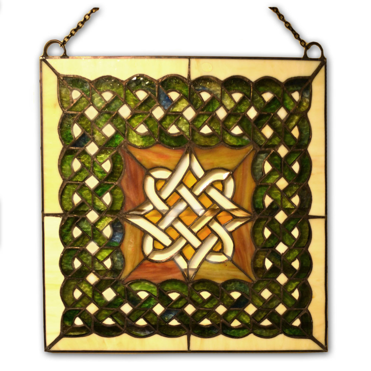 Beveled Square Celtic Stained Glass Panel with Chain
