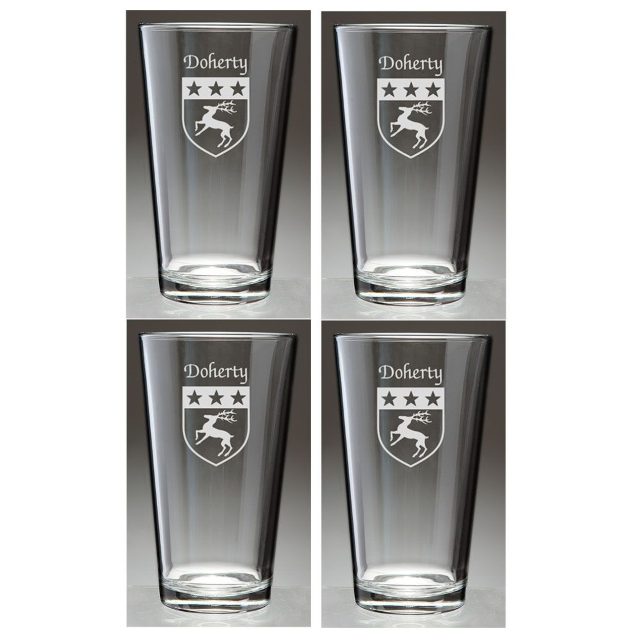 Personalized Family Name Coat of Arms Pint Glasses - Set of 4