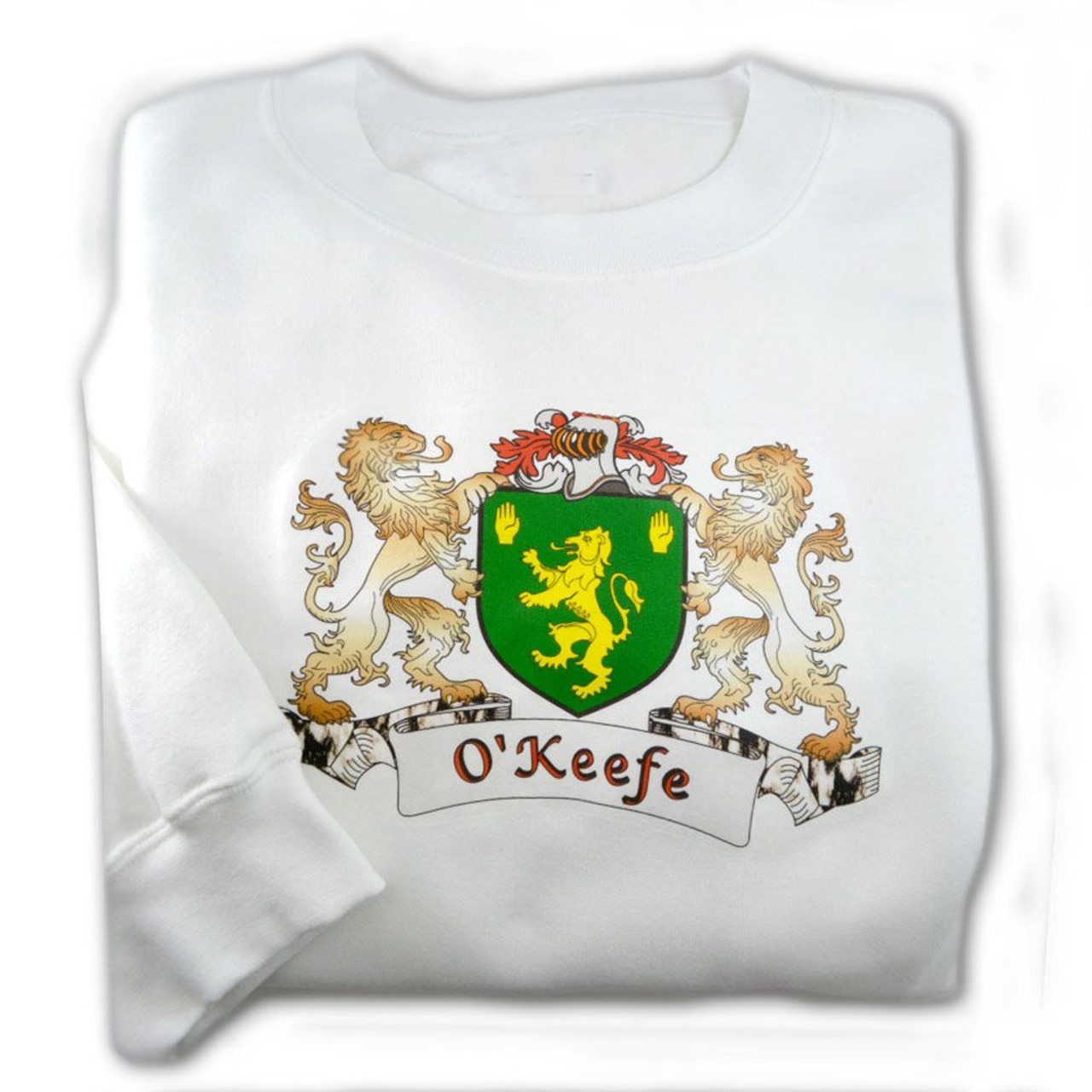 Personalized White Sweatshirt with Family Name Coat of Arms