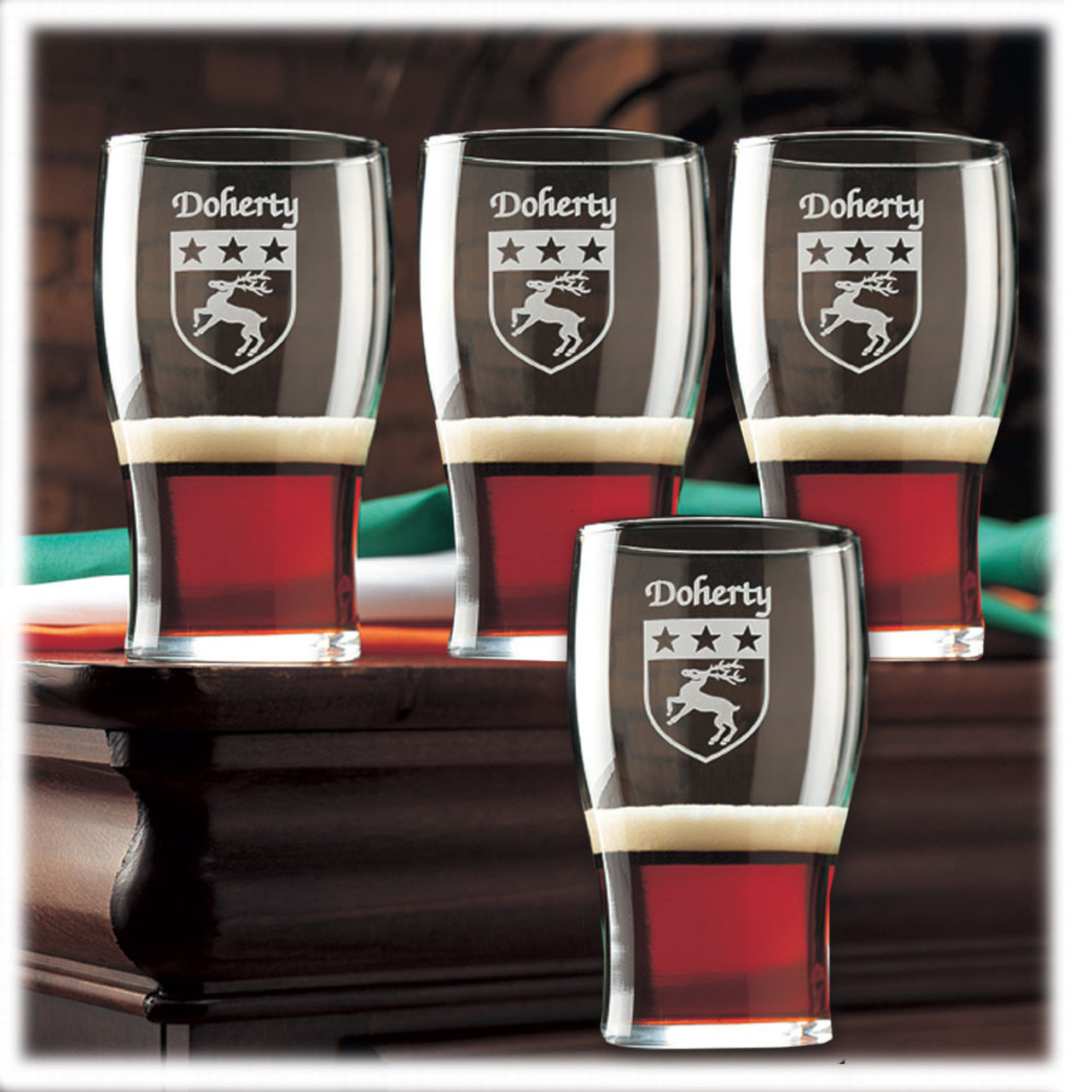 Personalized Family Name Coat of Arms Tavern Glasses - Set of 4
