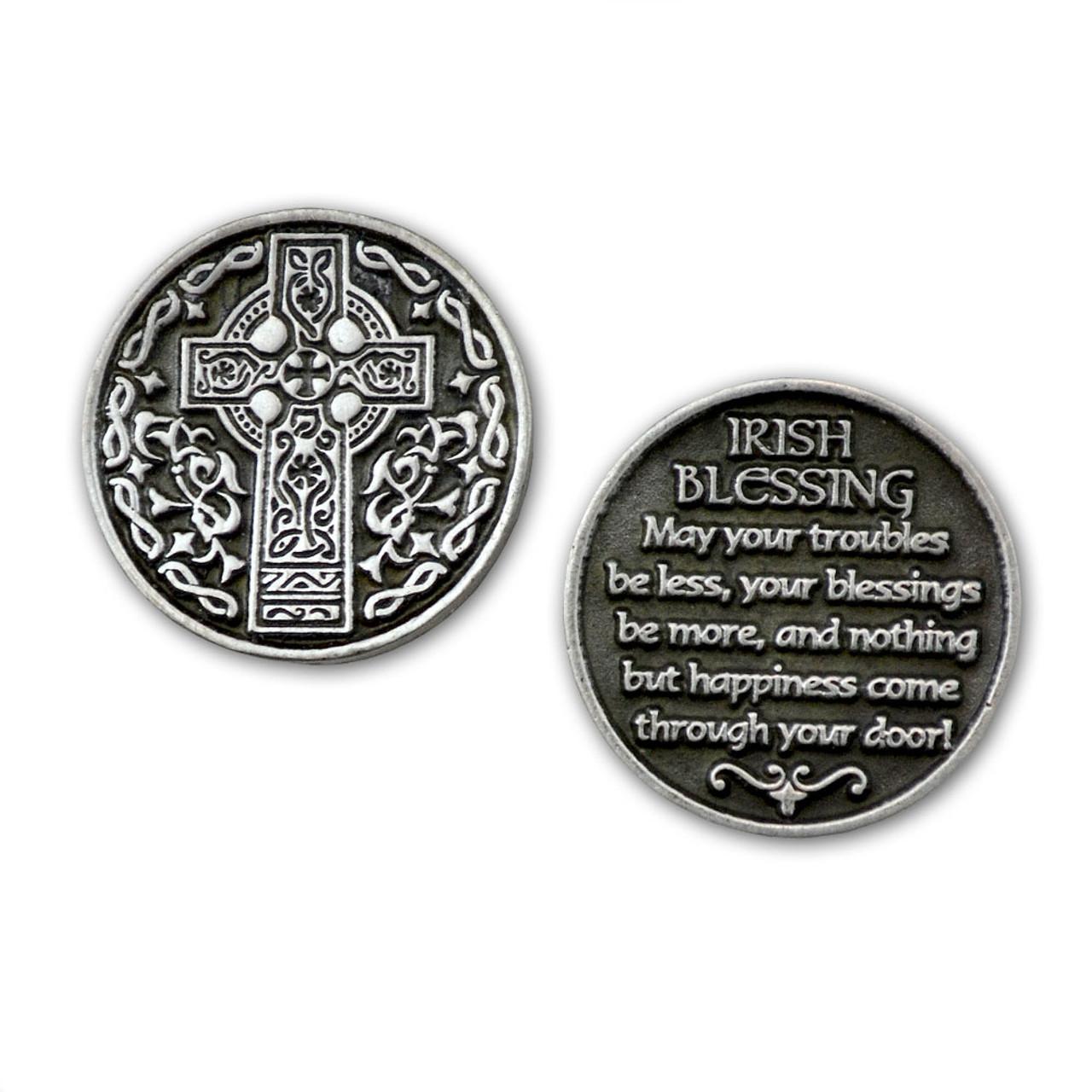 Celtic Cross Irish Blessing Pocket Token