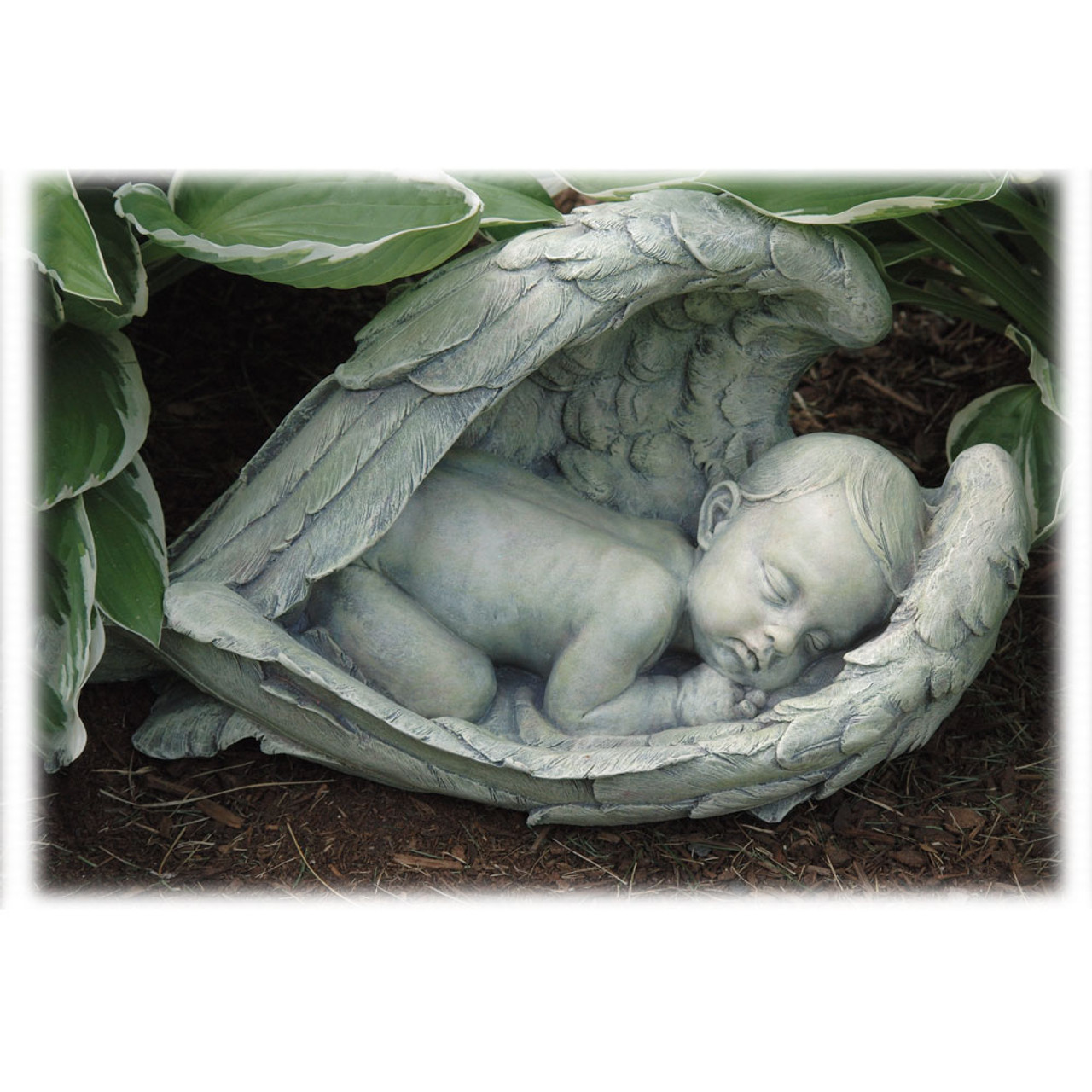 Sleeping Baby, Wrapped in Angel Wings Statue