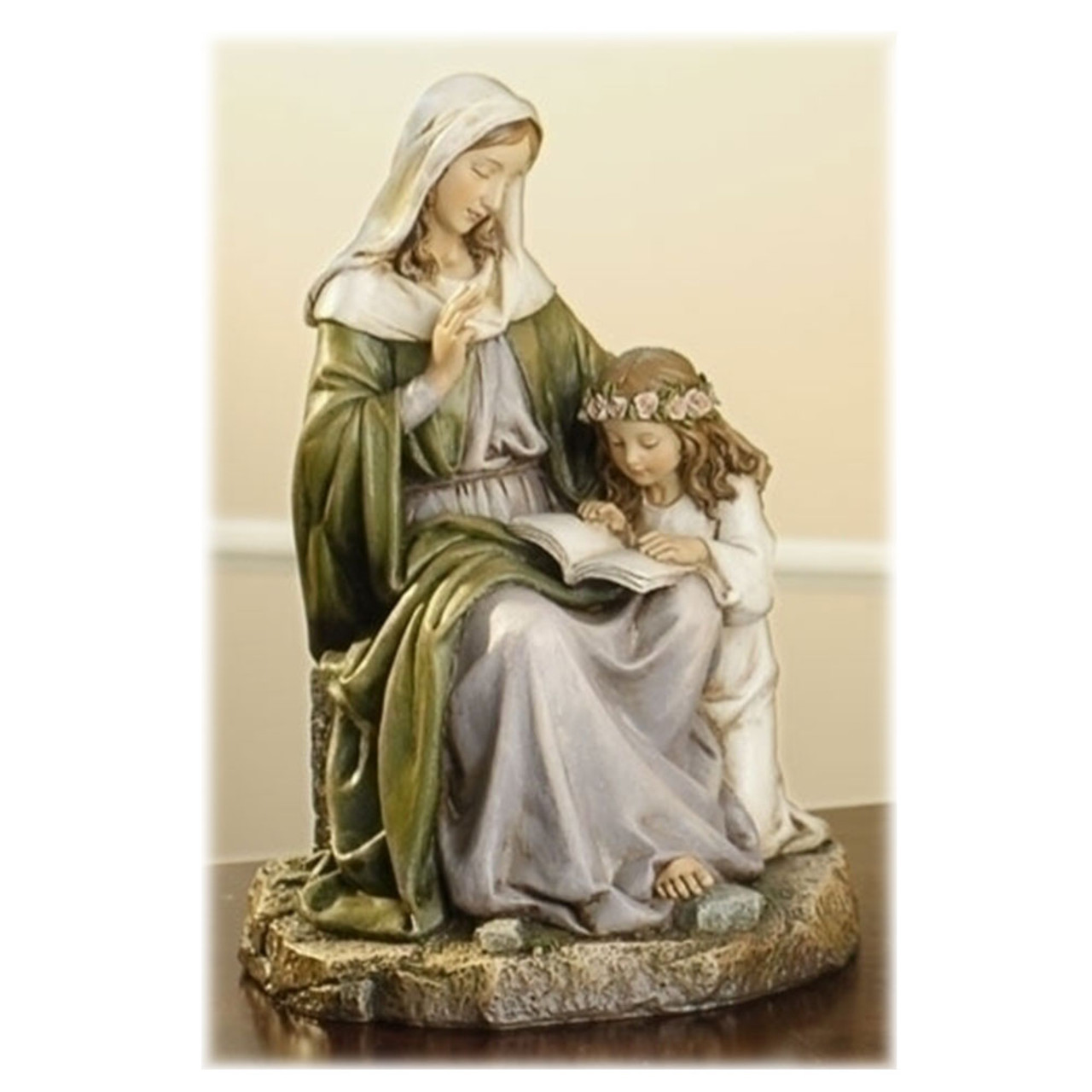 St. Anne With Child Statue 7IN Resin/Stone