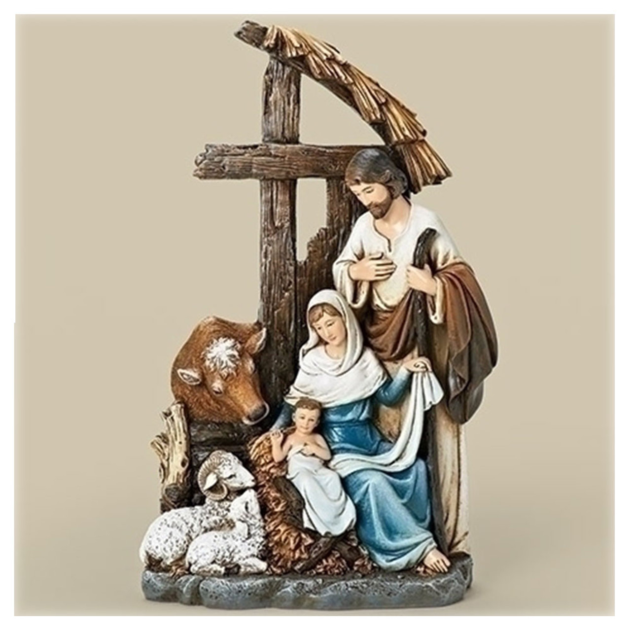 Holy Family w/Cross Stable Figurine