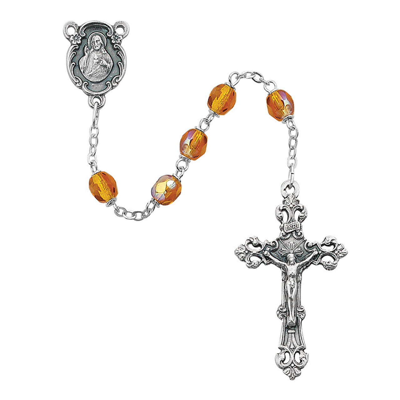 Birthstone Rosaries with Aurora Crystal