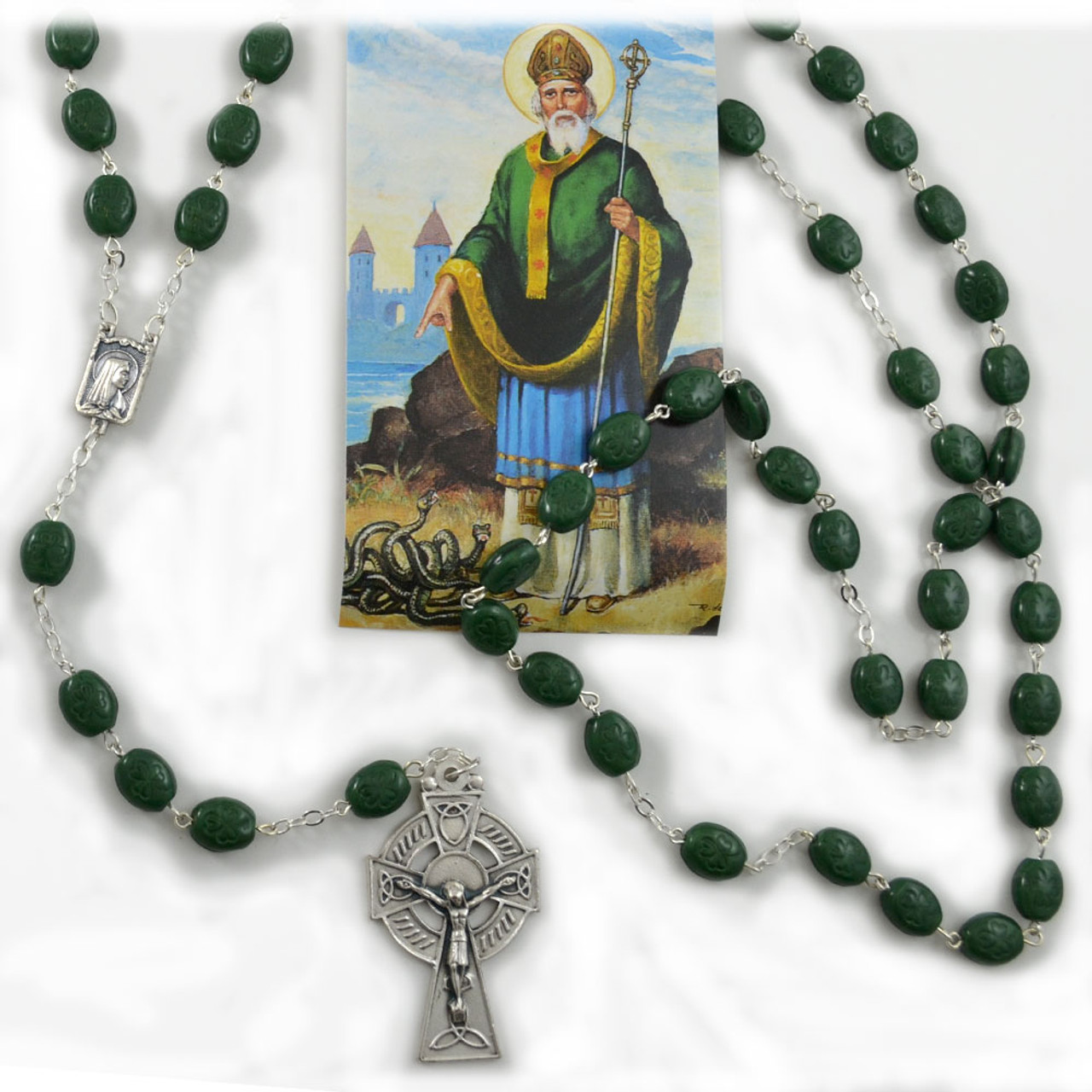 Irish Rosary with Shamrock Beads and Celtic Cross