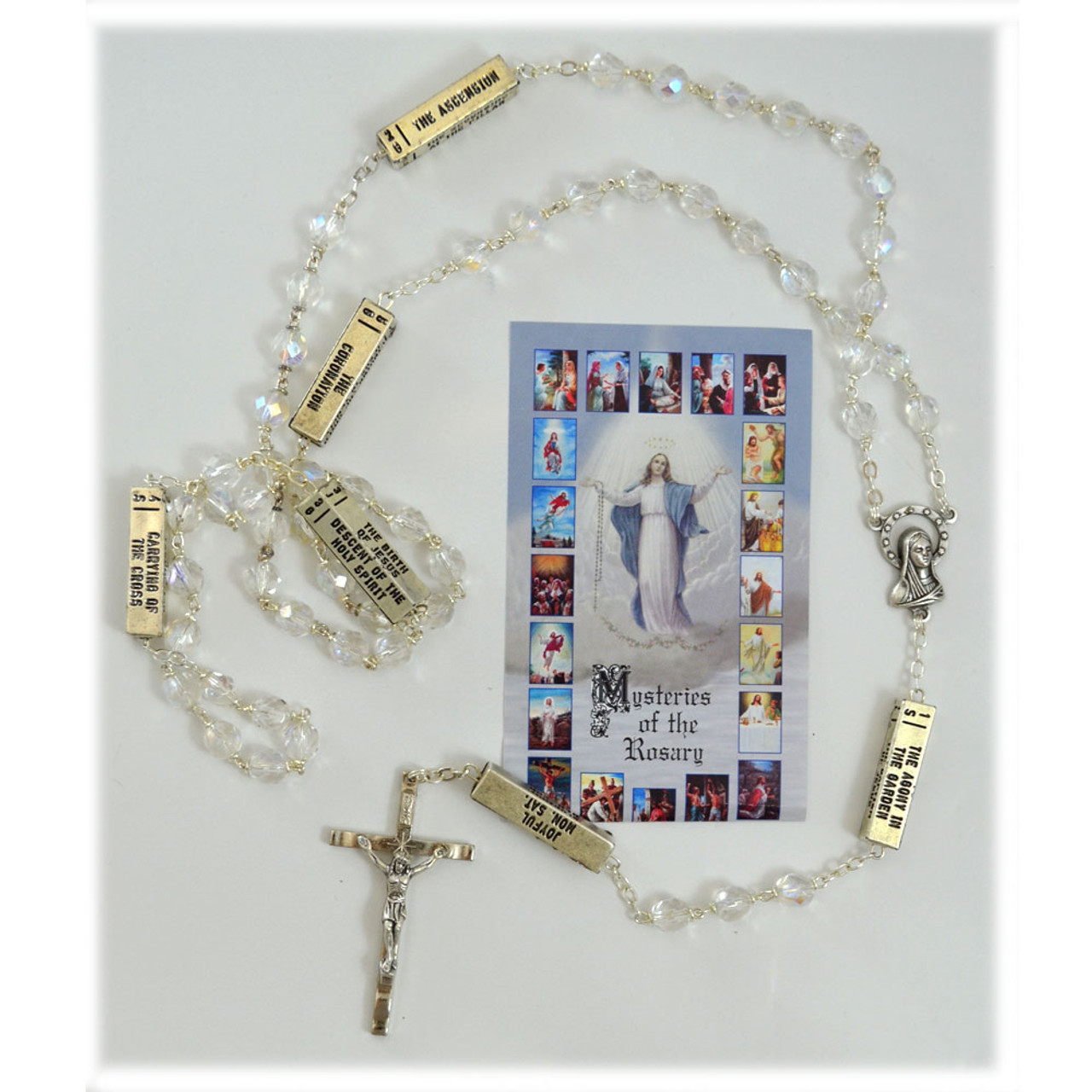 Boxed Rosary w/Mysteries and Crystal Beads