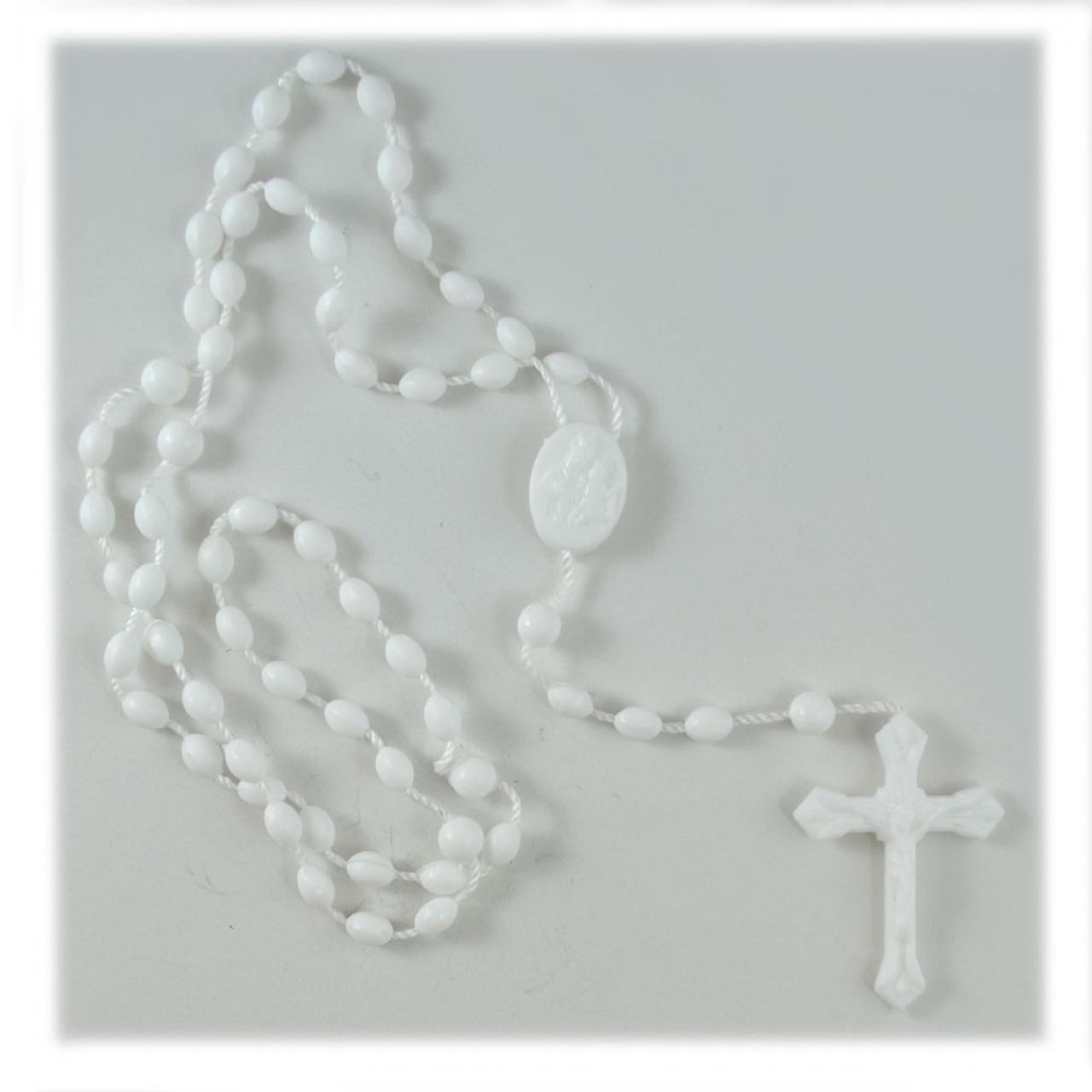 Inexpensive White Plastic Rosary