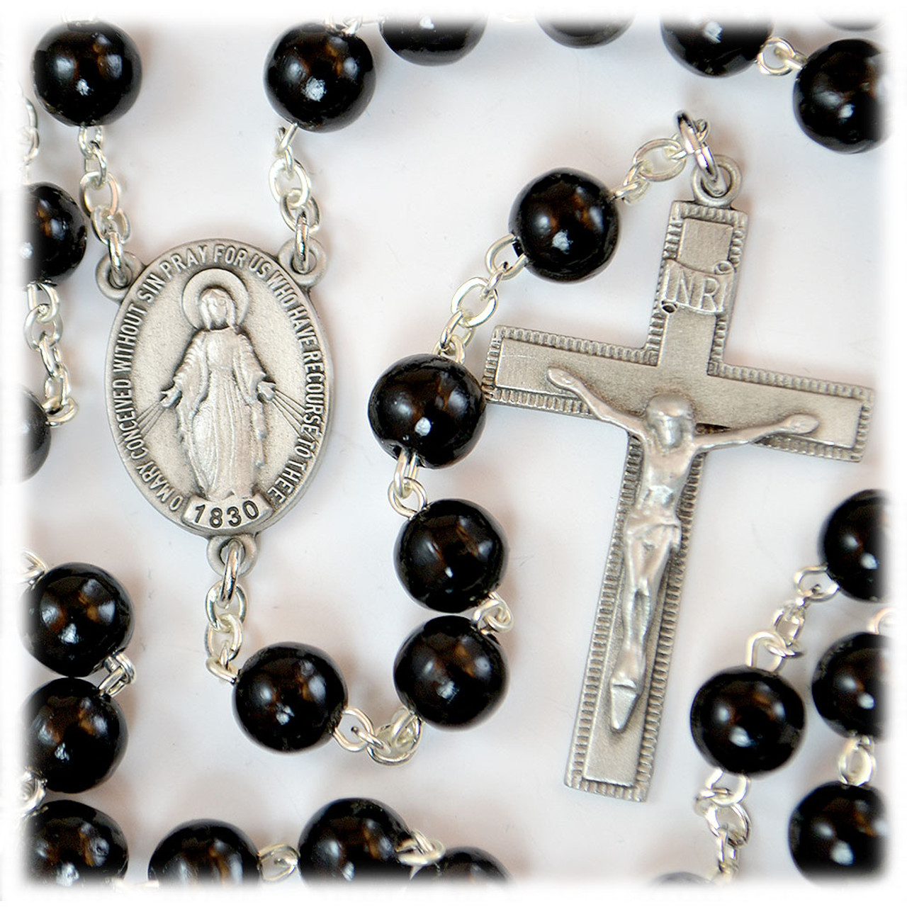 Black Wood Rosary Pewter Center 7MM Beads