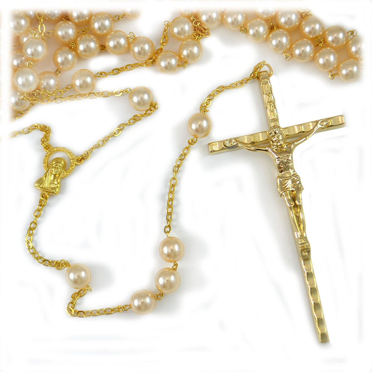 36IN Wedding Lasso Rosary w/Pearl Beads