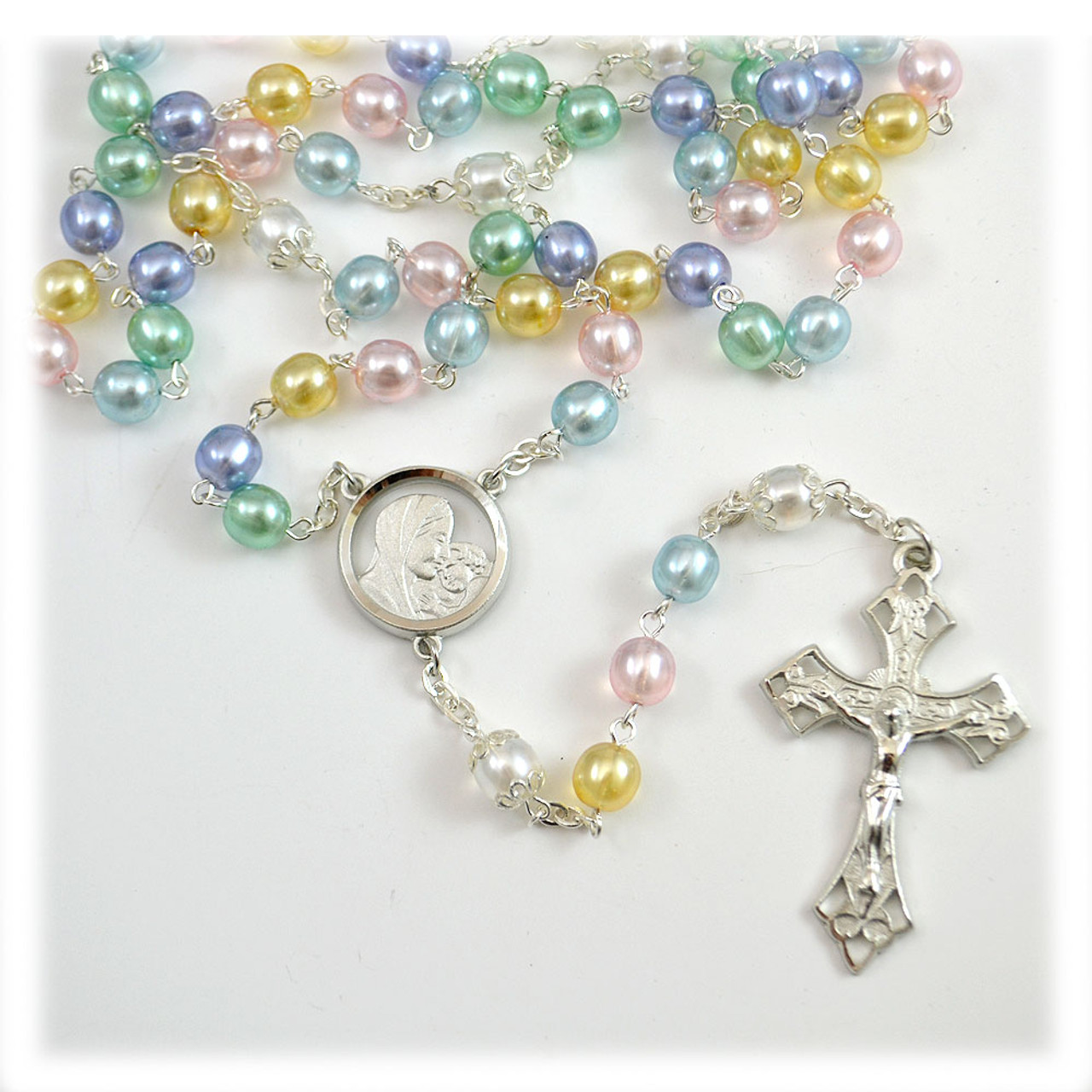 Multi-Colored Pearl Bead Rosary