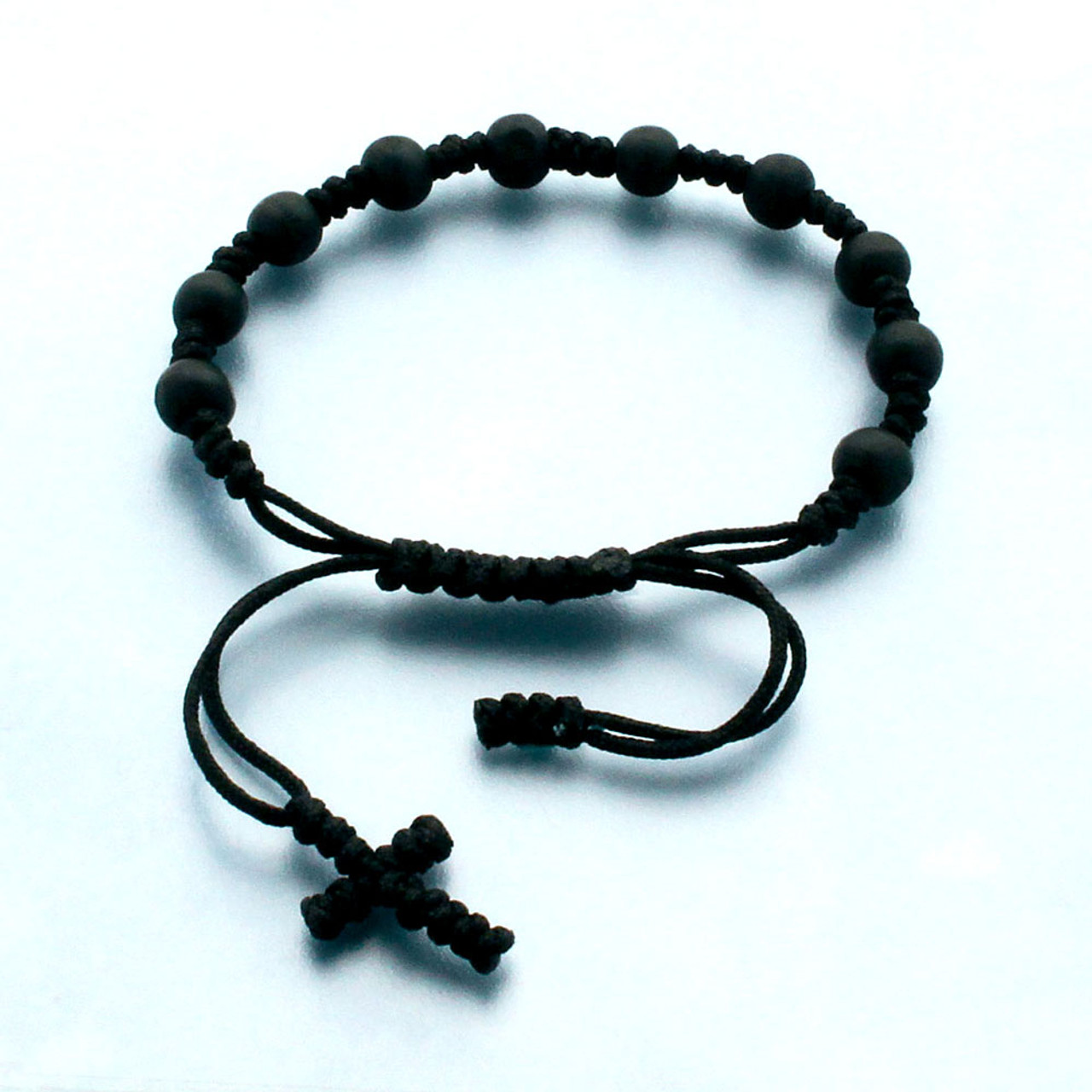 Black Rosary Bracelet with Knotted Cord