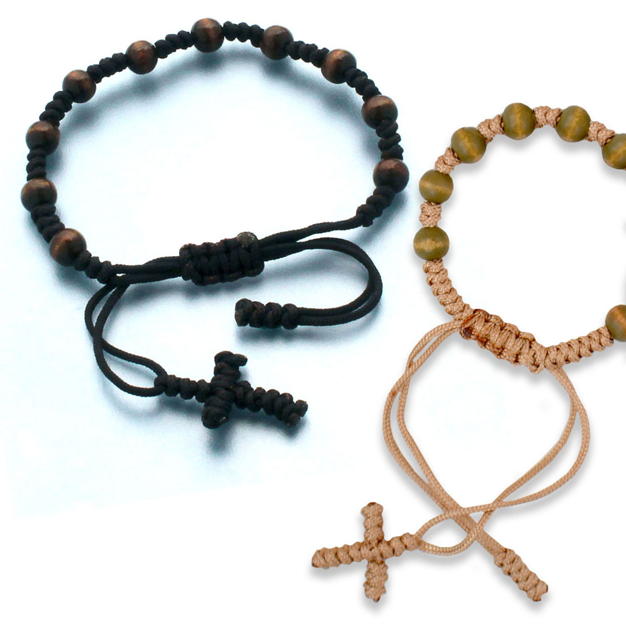 Wood Bead Rosary Bracelet with Knotted Cord