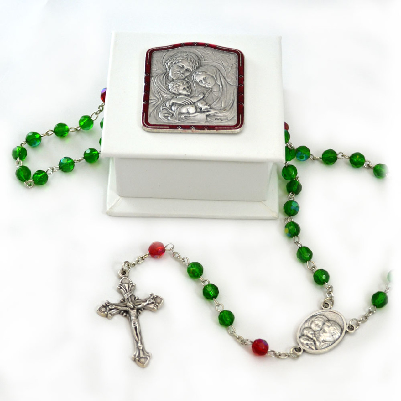 Rosary w/White Rosary Box Holy Family Design