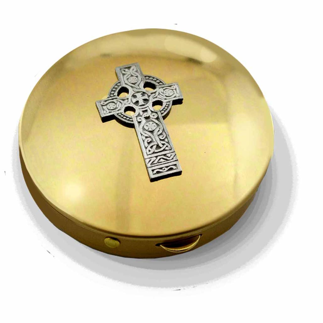 PS 143 Brass Pyx with Celtic Cross