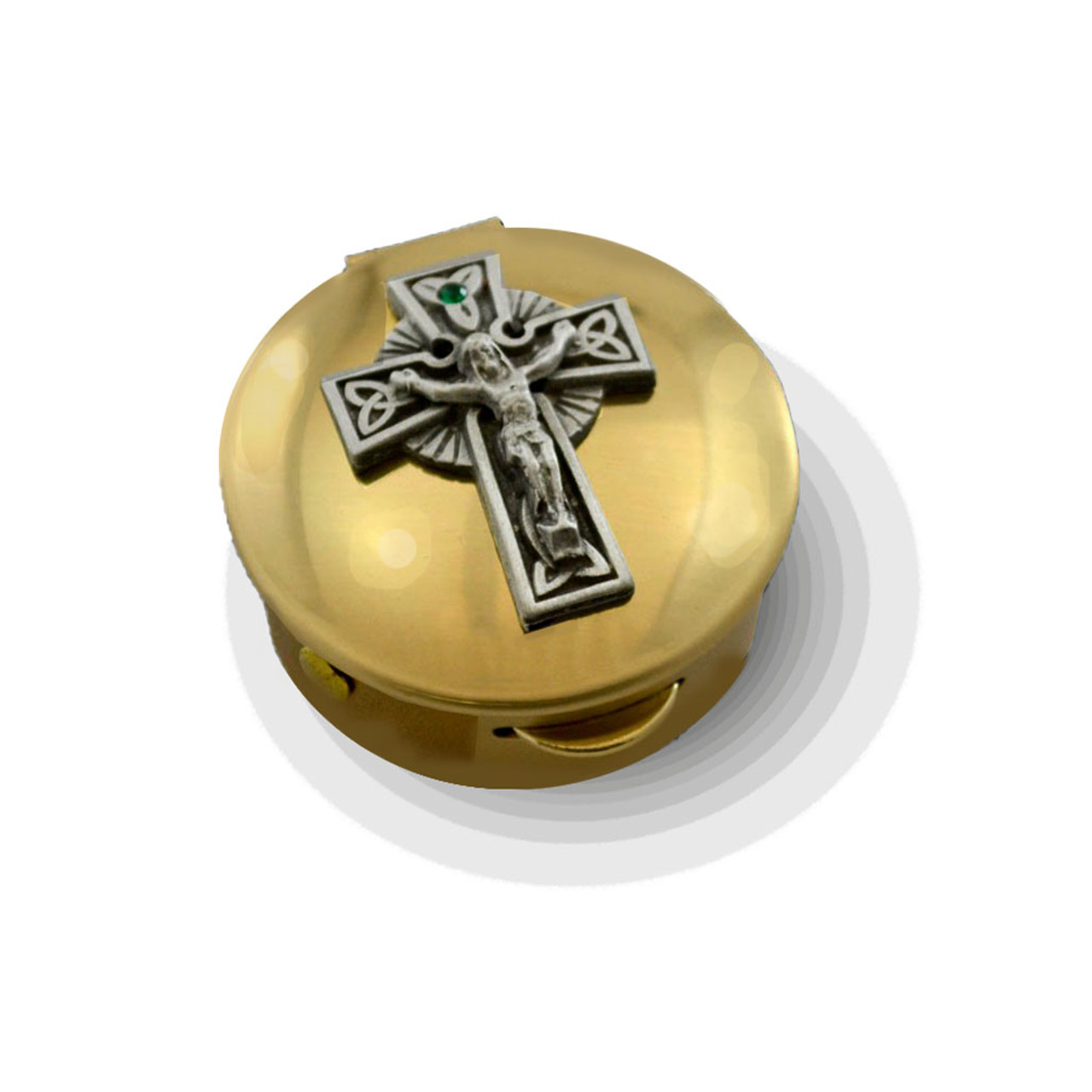 Pyx with Crucifix and Green Stone 6-9 Hosts