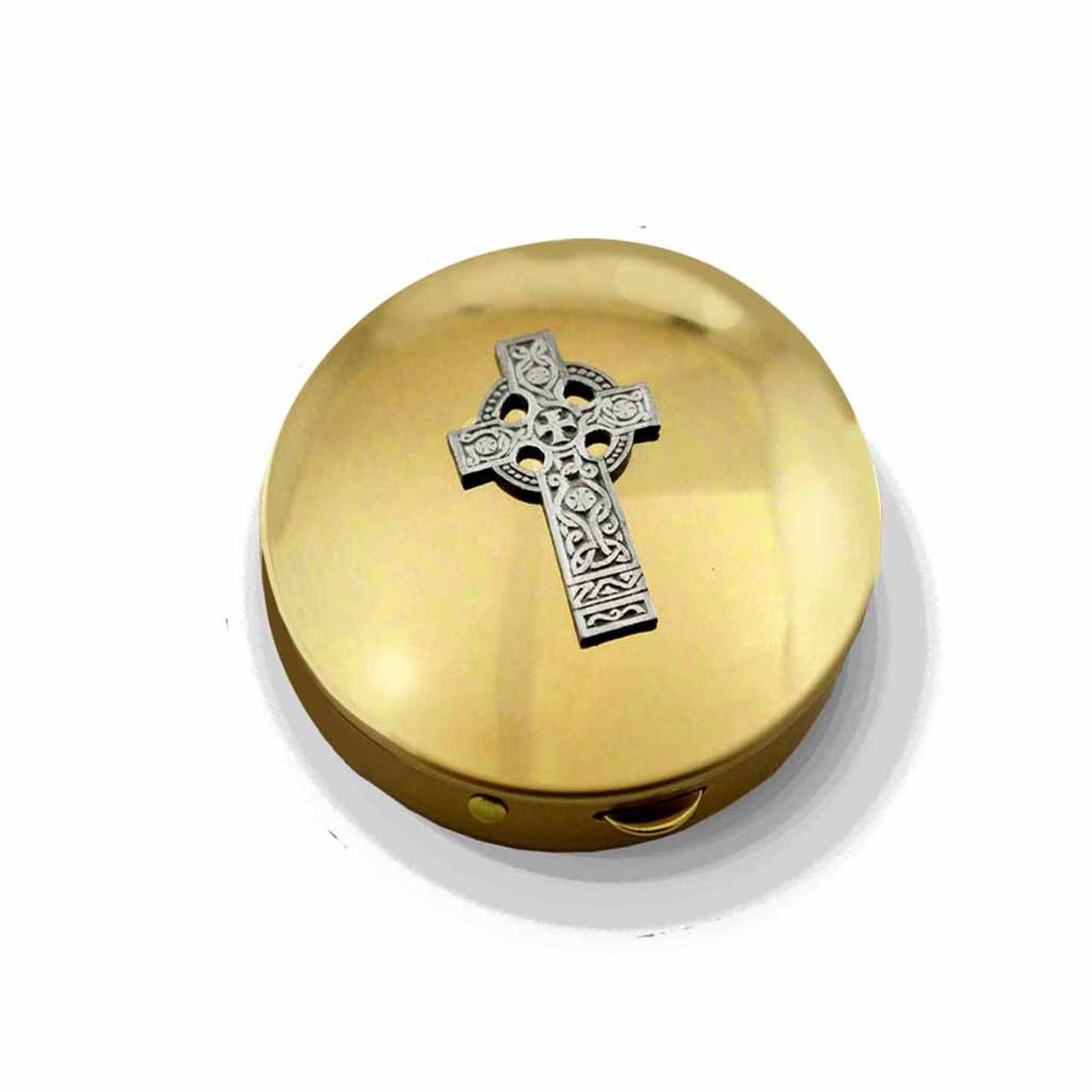 PS 142 Brass Pyx with Celtic Cross 12-15 Hosts