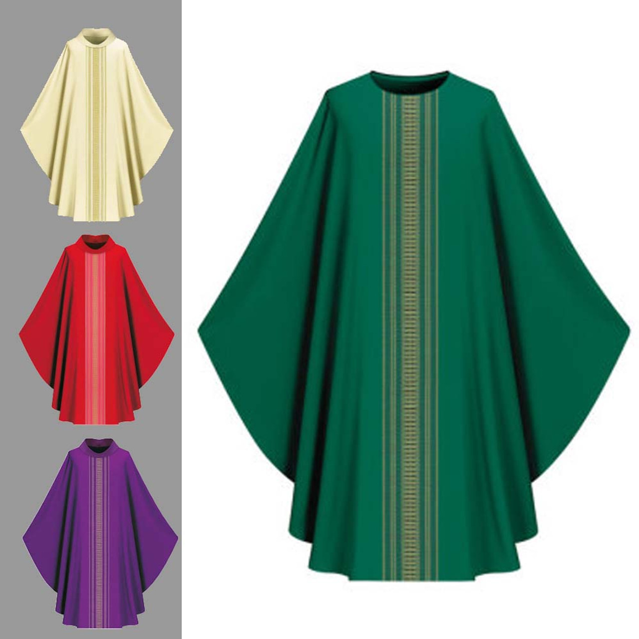 3111 Green Chasuble with Roll Collar